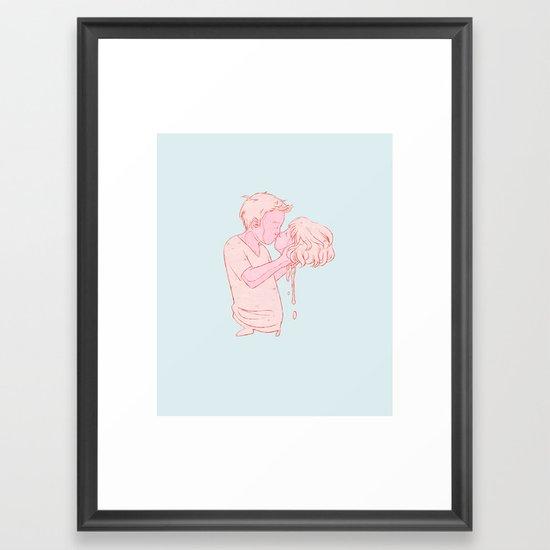 550x550 kissy face framed art print