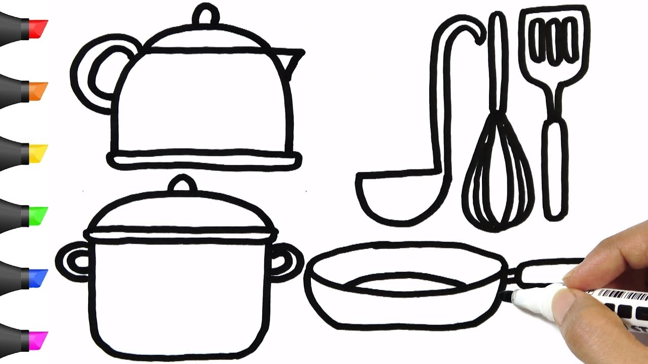 1280x720 Drawing Kitchen Utensils Coloring Pages Bodraw