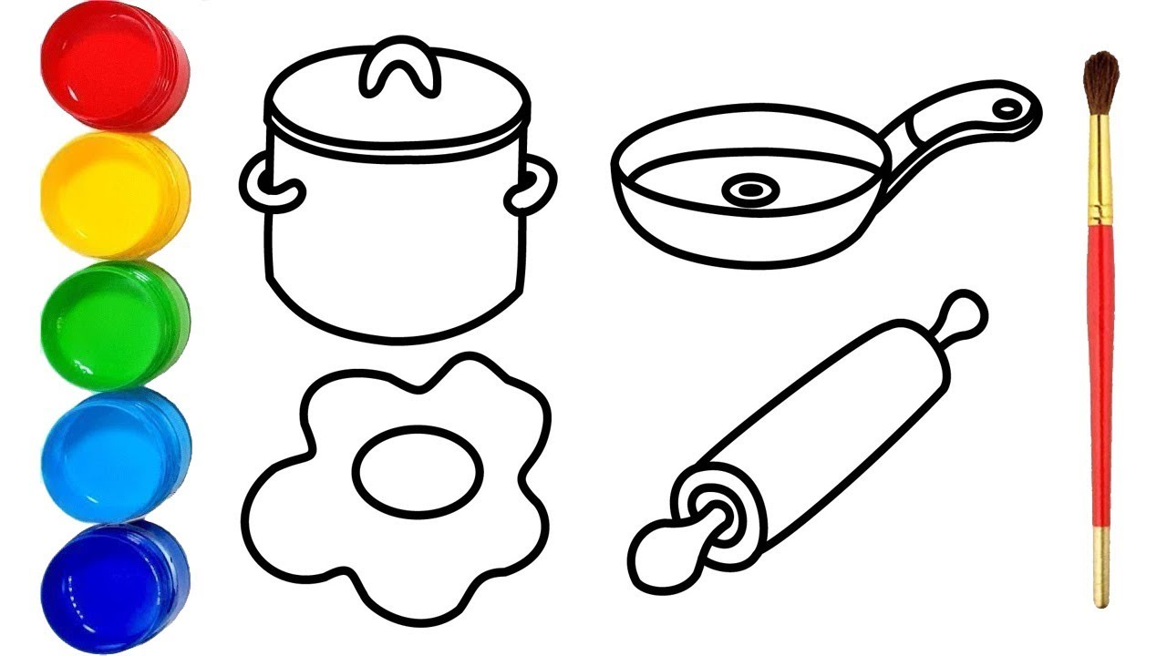 1280x720 Glitter Kitchen Tools Drawing And Coloring For Kids