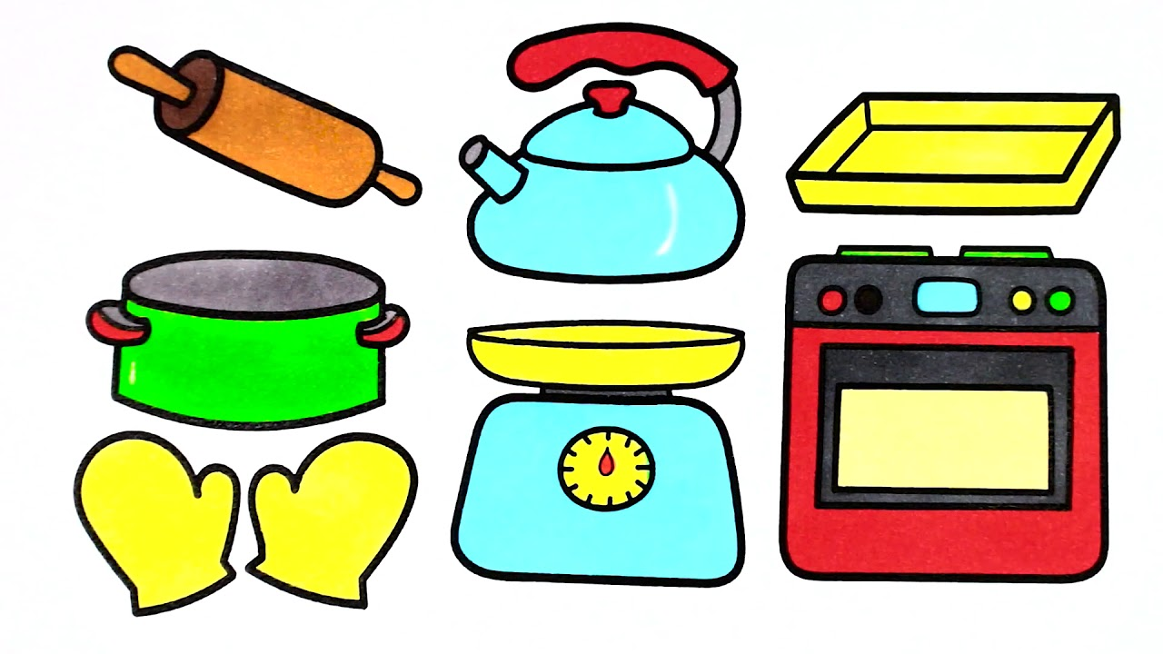1280x720 Kitchen Tools Drawing And Coloring For Kids How To Draw Cow