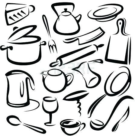 447x450 Kitchen Utensils Clipart Black And White Cooking Utensils Utensils