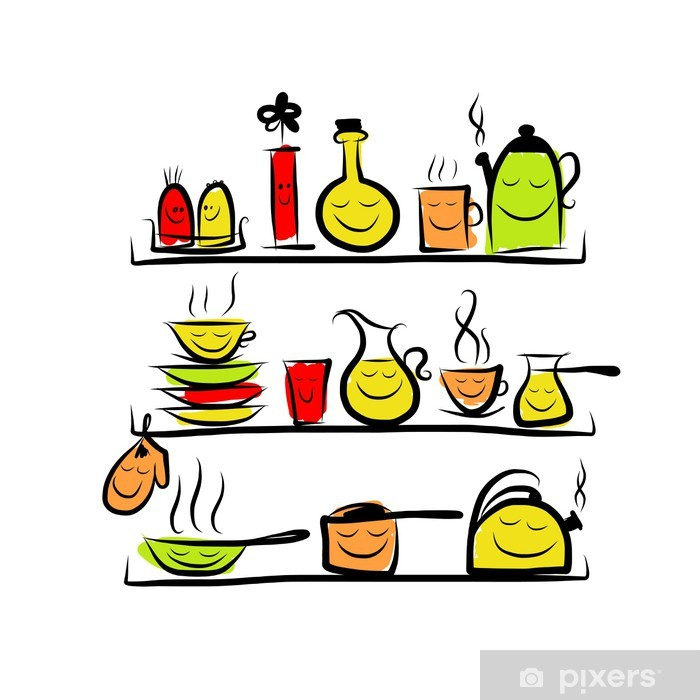 700x700 Kitchen Utensils Characters On Shelves, Sketch Drawing For Your