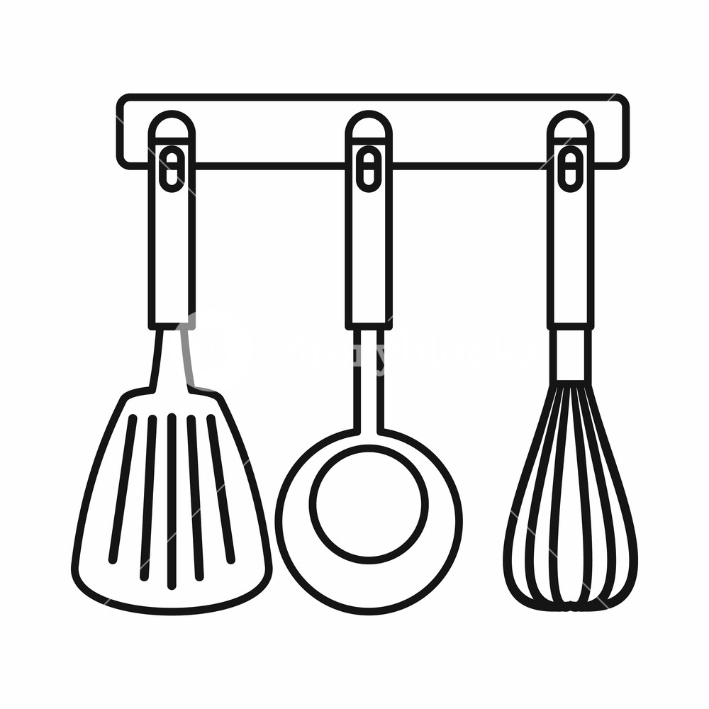 1000x1000 spatula, ladle and whisk, kitchen tools on a hanger icon