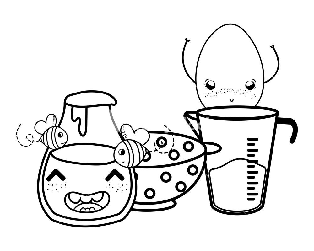 1000x800 Kitchen Utensils And Breakfast Food Kawaii Cartoons Vector