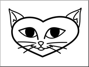 304x229 Clip Art Valentine Kitten Face Bampw I Abcteach
