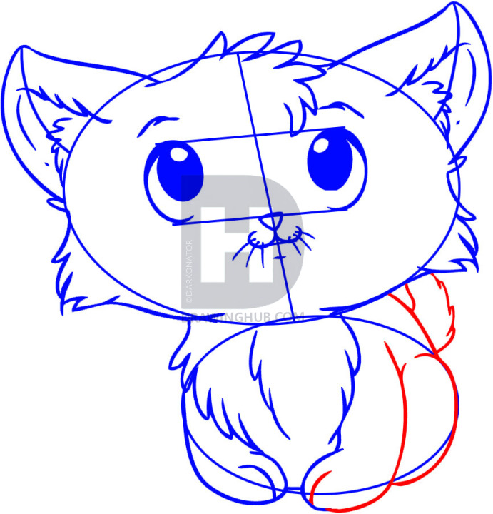 691x720 How To Draw A Kitten, Step