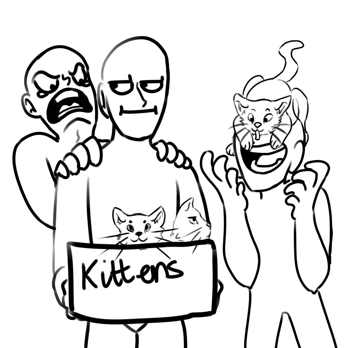 1200x1200 Me Shouting For The Kittens, Dirk With A Kitten On His Face