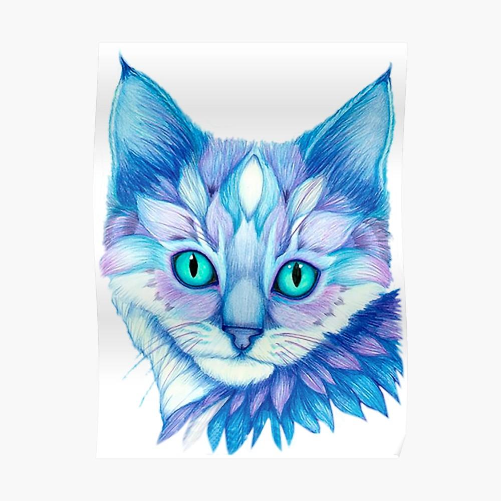 1000x1000 Beautiful Color Pencil Cat Face Drawing