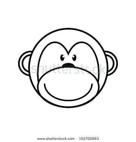 450x470 Monkey Outline Cute Monkey Outline Drawing Outlines Cats Face