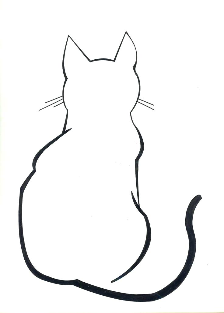 736x1028 Cat Silhouette Pillow Cases Mentions Drawings Outlines Printable