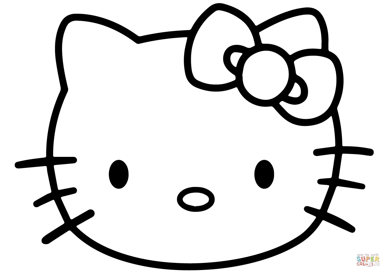 1300x919 Color Pages Of Hello Kitty Face Coloring