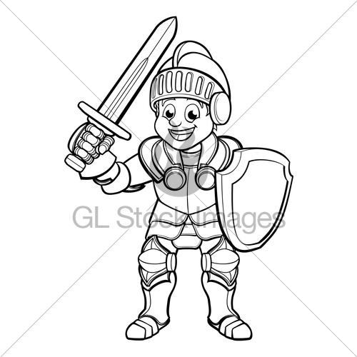500x500 Knight Cartoon Character Gl Stock Images