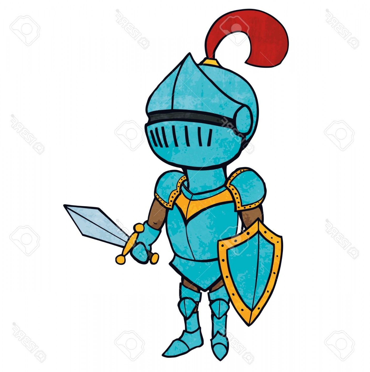 1555x1560 Photostock Vector Cartoon Knight In Armour With Sword And Shield