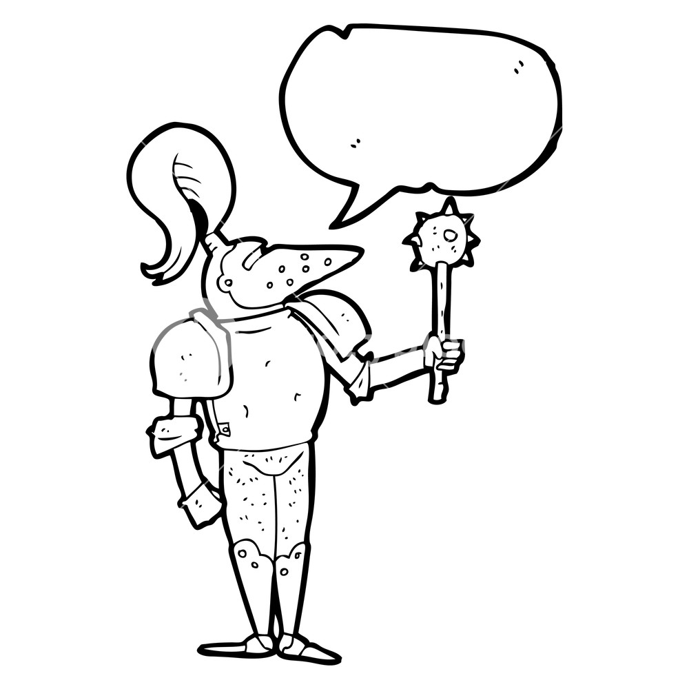 1000x1000 Freehand Drawn Speech Bubble Cartoon Medieval Knight Royalty Free
