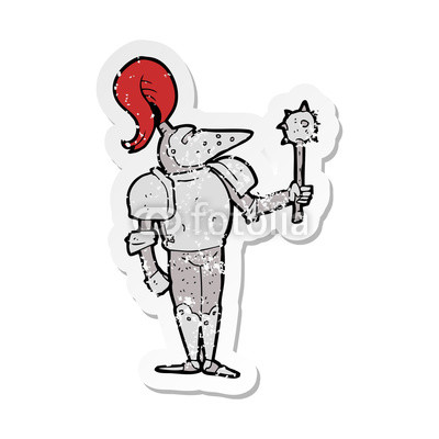 400x400 Retro Distressed Sticker Of A Cartoon Medieval Knight Buy Photos