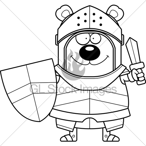 500x500 Cartoon Bear Knight Sword Gl Stock Images