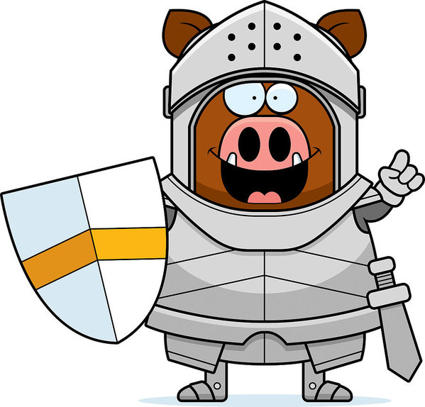 599x574 Cartoon Boar Knight Idea Art Print