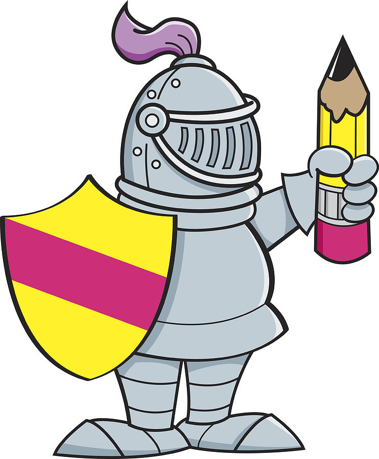 742x900 Cartoon Knight Holding A Shield And A Pencil Drawing