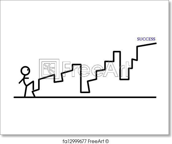 560x470 Free Art Print Of Ladder To Success Digital Drawing