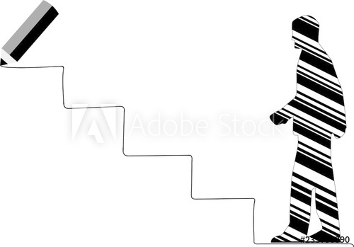 500x349 Man Is Climbing Career Ladder Pencil Drawing Stairs Concept