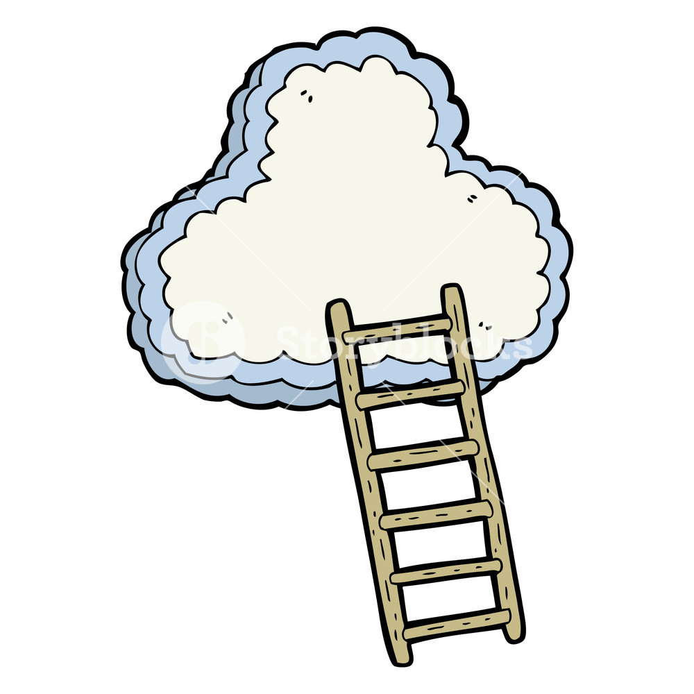 1000x1000 Freehand Drawn Cartoon Ladder To Heaven Royalty Free Stock Image