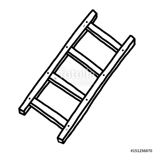 500x500 Ladder Cartoon Vector And Illustration, Black And White, Hand