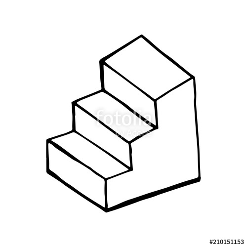 500x500 Step Ladder Sketch Vector Isolated On White Background Stock