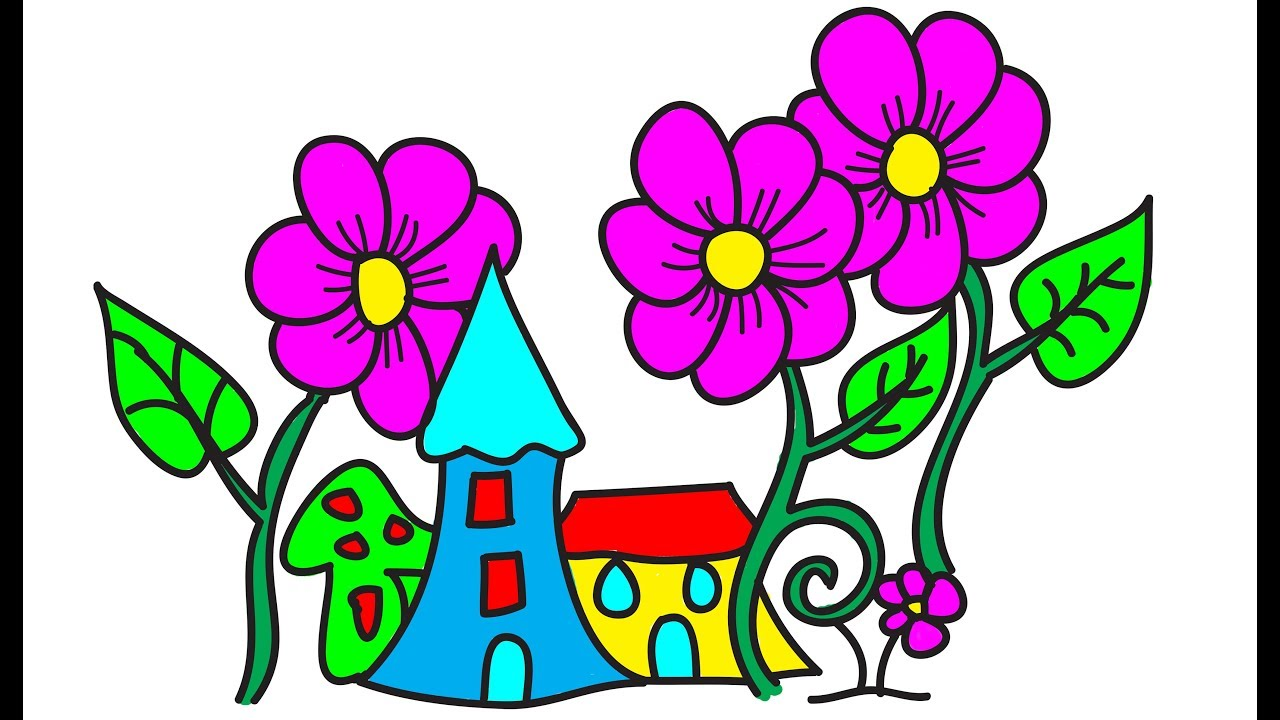 1280x720 How To Draw Flower Flower Drawing Color, Drawing For Kids
