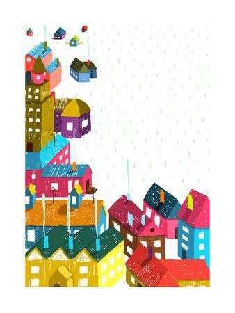 338x450 Small Town Or City With Houses Roofs Landscape Colorful Hand