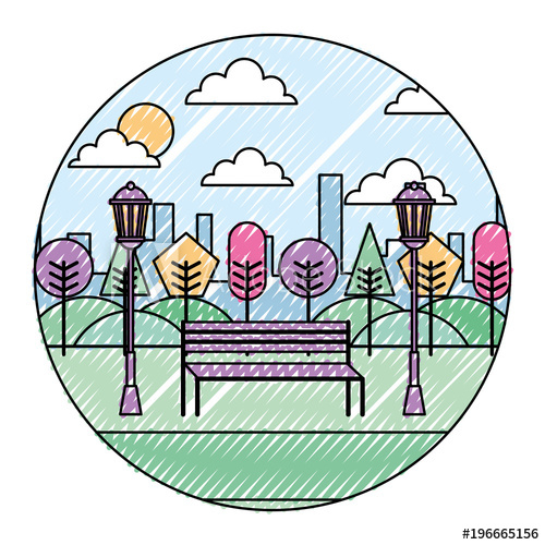 500x500 Landscape Park In The City Bench Trees And Lamps Round Design
