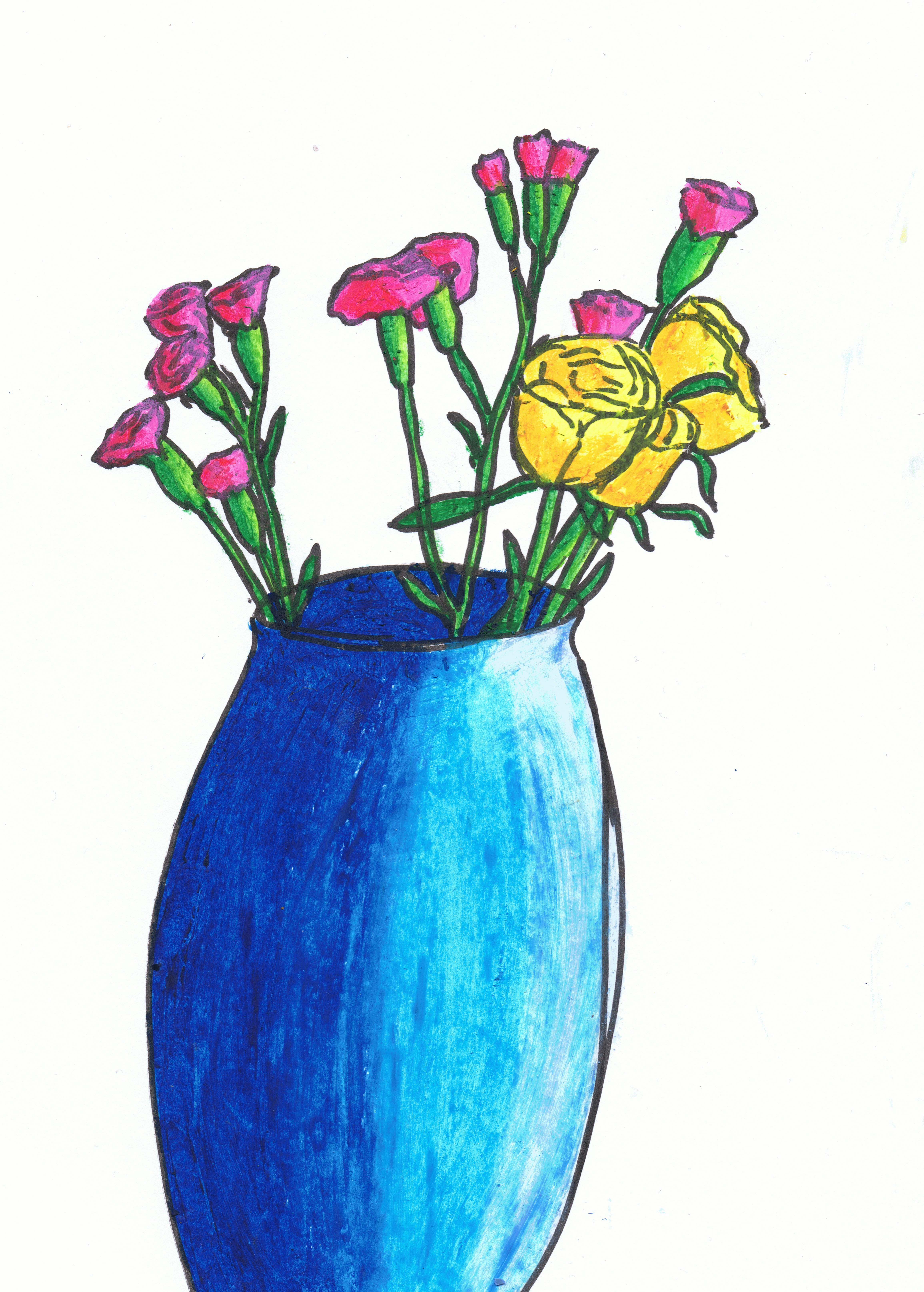 4621x6460 Drawing Plants And Flowers Drawing With Other Colour Media