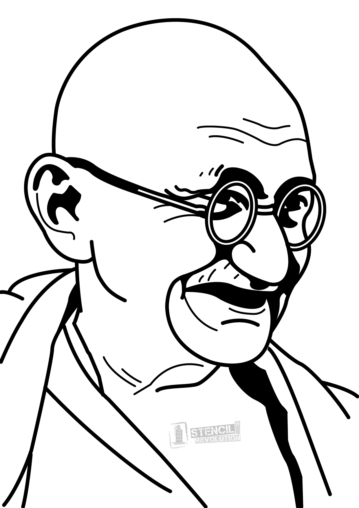 1240x1754 Gandhiji Drawing Coloured For Free Download