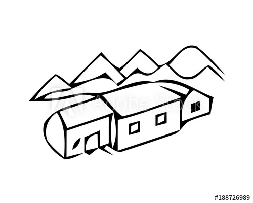 500x400 Landscape Ink Sketch Drawing Rural Engraved Landscape