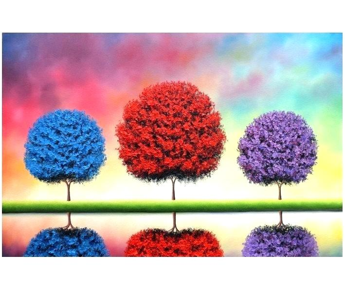 709x598 Pom Trees Painting Easy Landscape Drawing Mountain Drawing Example