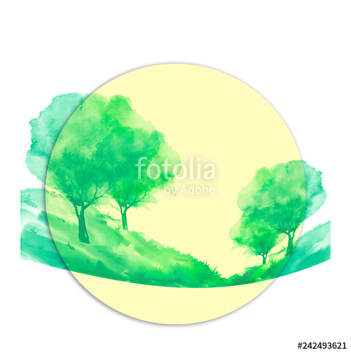 498x500 Watercolor Drawing Of Nature Round Element On White Isolated