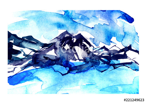 500x354 Watercolor Drawing With A Mountain Landscape The Peak