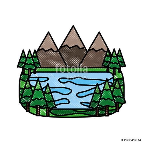 500x500 Forest Mountains Lake Landscape Natural Vector Illustration