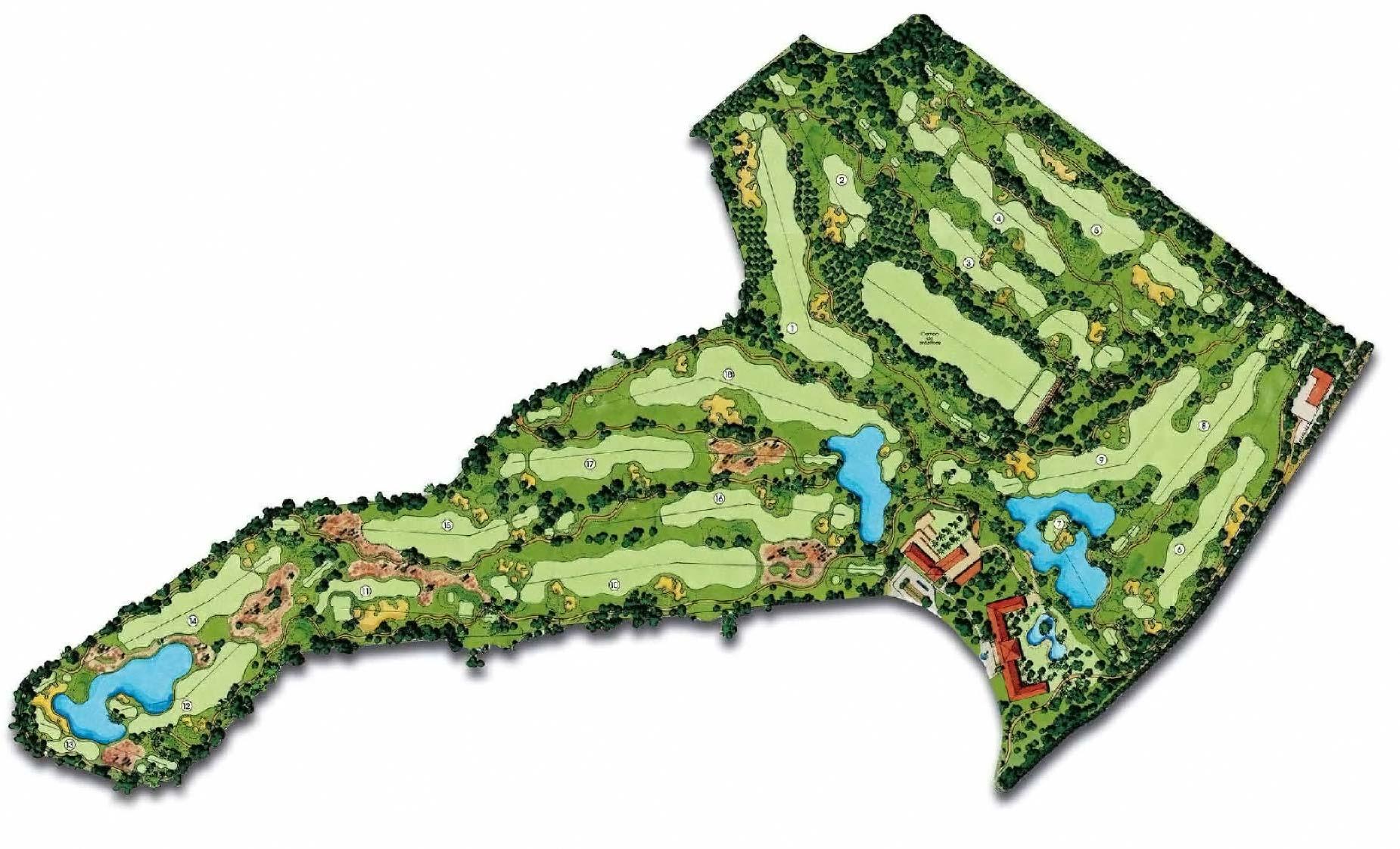 1850x1122 Top Golf Course Landscape Pencil Drawing