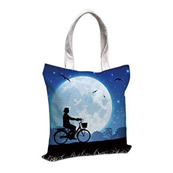 355x355 Iprint Cotton Linen Tote Bag, Moon,landscape Drawing