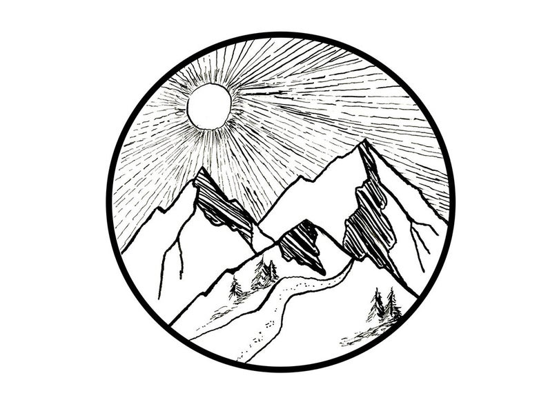 794x580 Mountain Landscape Pen And Ink Colorado Art Mountains Etsy