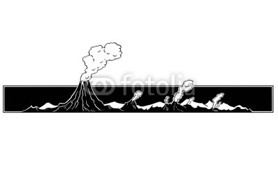 400x246 Vector Artistic Pen And Ink Drawing Illustration Of Volcano