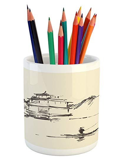 421x550 Ambesonne Ancient China Pencil Pen Holder, Sketch Art