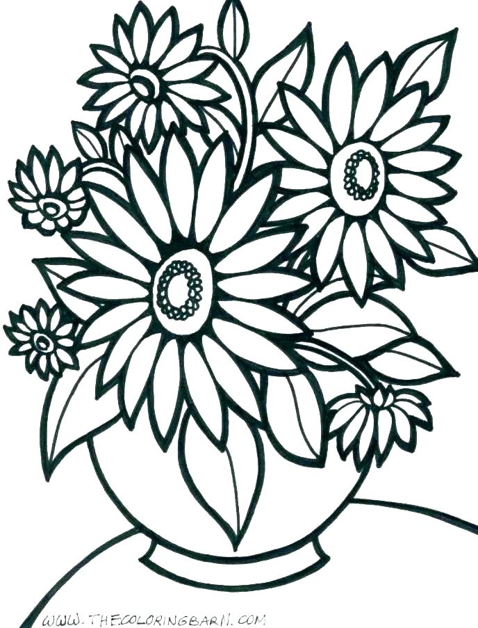 688x903 Useful Large Flower Coloring Pages Flower Pot Coloring Pages
