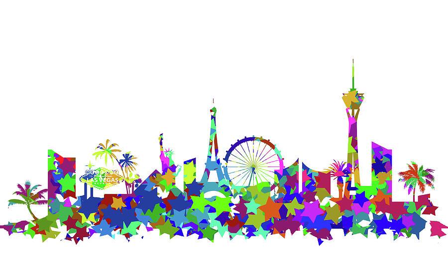 900x535 Las Vegas Skyline Silhouette Digital Art
