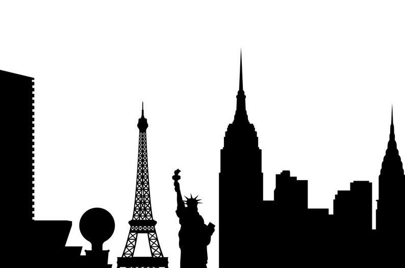 794x525 Las Vegas Skyline Silhouette Pdf Png Las Etsy