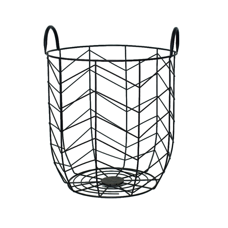 800x800 Decorative Black Color Metal Wire Mesh Laundry Basket With Handle
