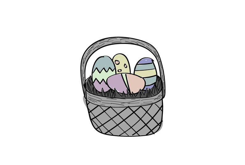 794x533 Easter Basket Gray Tones Digital Drawing Etsy