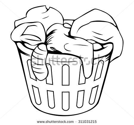 450x420 Laundry Basket Clipart Black And White Clipart Portal