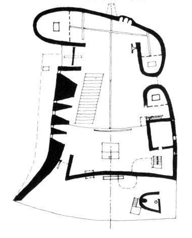 380x471 le corbusier's plan of notre dame du haut, ronchamp interior