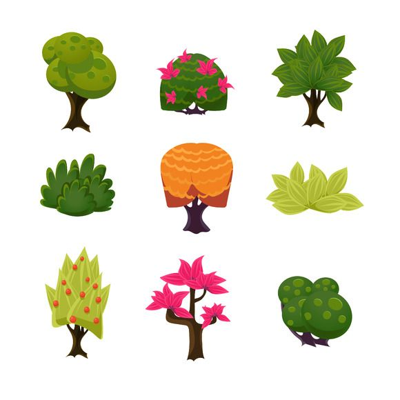 580x580 Cartoon Trees, Leaves And Bushes Illustrations